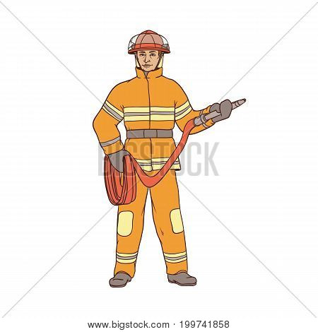 Male firefighter in protective suit, helmet and gauntlets, with a red hose in his hands. The worker in the field of fire safety. People of professions. Vector colored sketch of realistic illustration