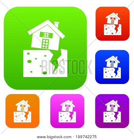 House after an earthquake set icon in different colors isolated vector illustration. Premium collection