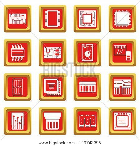 Computer chips icons set in red color isolated vector illustration for web and any design
