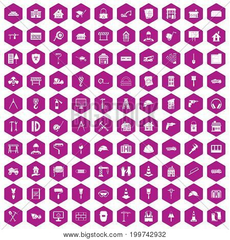 100 construction icons set in violet hexagon isolated vector illustration