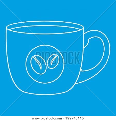 Coffee cup icon blue outline style isolated vector illustration. Thin line sign