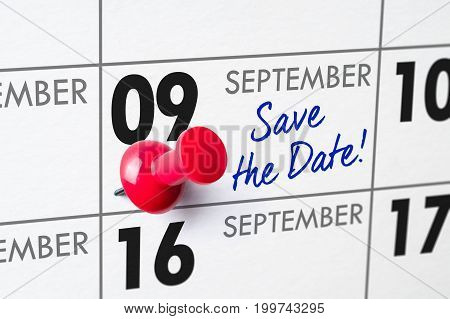 Wall Calendar With A Red Pin - September 09