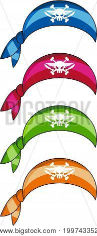 Cartoon Pirate Bandana with Skull and Crossbones