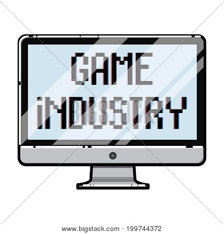 Color vintage game industry emblem. Vector illustration, EPS 10