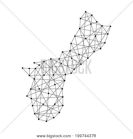Map Territory of Guam from polygonal black lines and dots of vector illustration