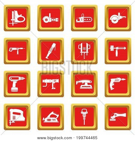 Electric tools icons set in red color isolated vector illustration for web and any design
