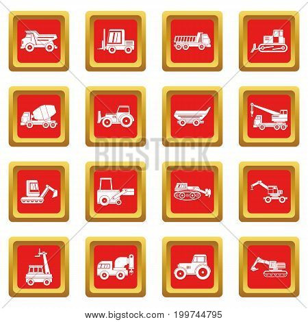 Building vehicles icons set in red color isolated vector illustration for web and any design