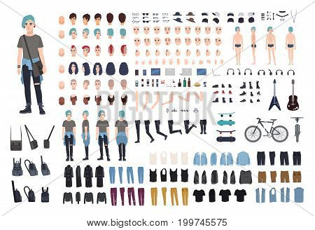 Informal teenager character constructor. Punk creation set. Different postures, hairstyle, face, legs, hands, clothes collection. vector cartoon illustration front side back view