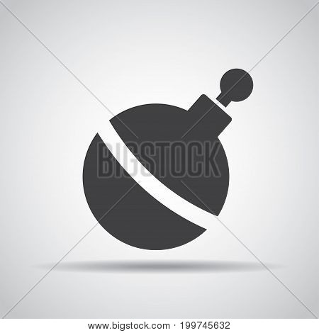 Bomb icon with shadow on a gray background. Vector illustration