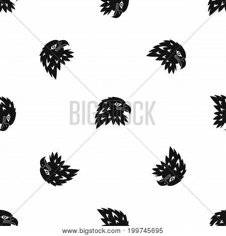 Eagle pattern repeat seamless in black color for any design. Vector geometric illustration