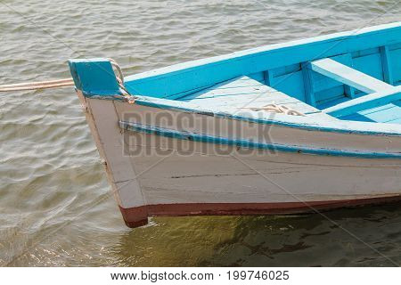 Prow of a wooden fishing boat on the deck in harbour, Adriatic sea, Croatia