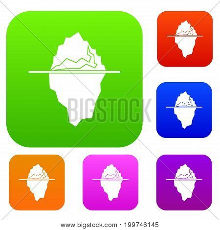 Iceberg set icon in different colors isolated vector illustration. Premium collection