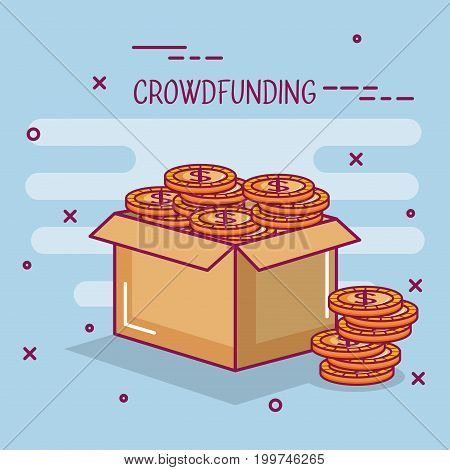 crowdfunding business cooperation box coin dollar money vector illustration