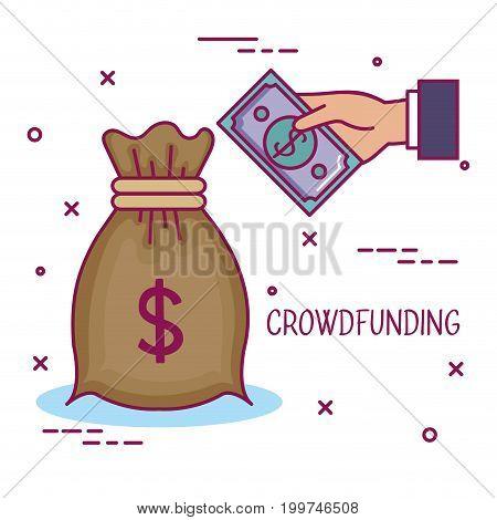 crowdfunding business cooperation bag money share vector illustration