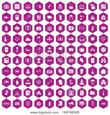 100 crime icons set in violet hexagon isolated vector illustration