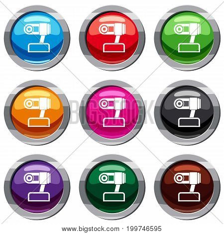 Webcam set icon isolated on white. 9 icon collection vector illustration