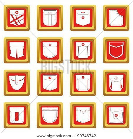 Pocket types icons set in red color isolated vector illustration for web and any design