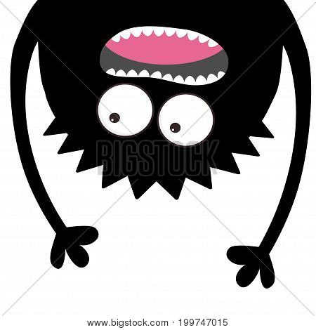 Screaming monster head silhouette. Two eyes teeth tongue hands. Hanging upside down. Black Funny Cute cartoon character. Baby collection. Happy Halloween card. Flat design. White background. Vector
