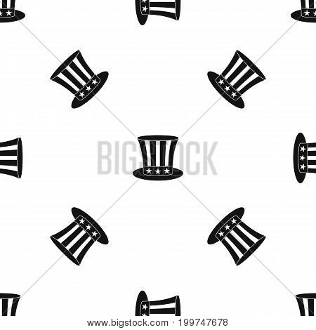 Uncle sam hat pattern repeat seamless in black color for any design. Vector geometric illustration