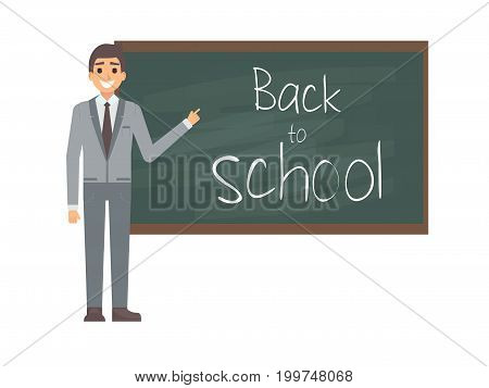 Young male teacher against blackboard in classroom isolated on white. Professor showing on boardon on lesson. Flat vector illustration. Back to school concept