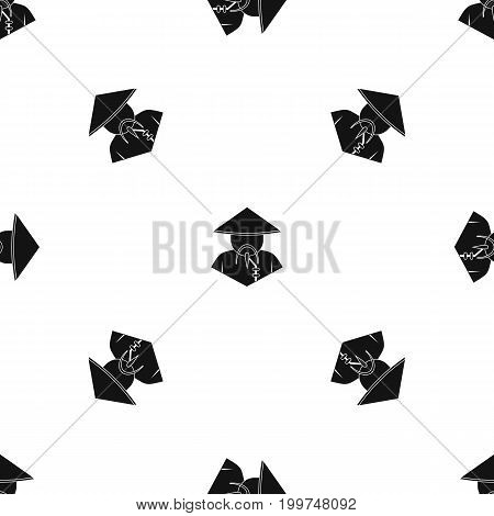 Asian man in conical hat pattern repeat seamless in black color for any design. Vector geometric illustration