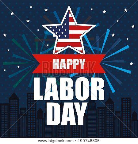 happy labor day national patriotic celebration vector illustration