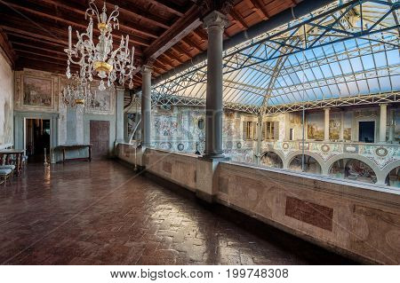Castello Firenze ITALY - March 17 2017: The frescoed courtyard and loggia of Villa La Petraia in former times residence of the Medici family located in Castello near Florence.