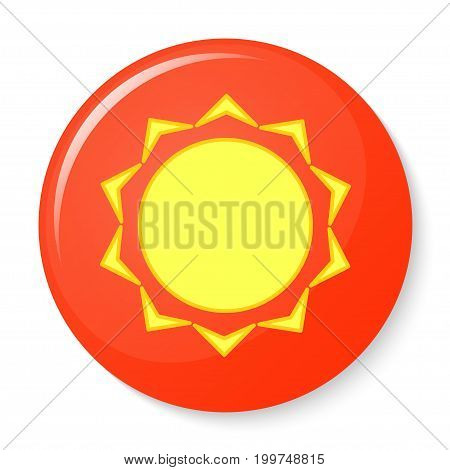 Button with the emblem of the sun. Vector illustration.