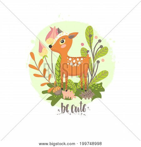 Deer on the background of plants and flowers. Child's illustration in vector.