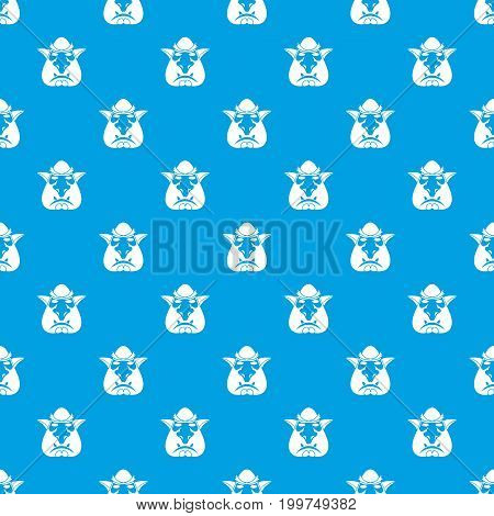 Head of troll pattern repeat seamless in blue color for any design. Vector geometric illustration
