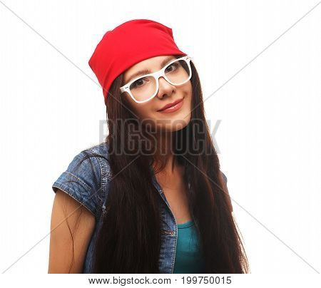 Close up studio portrait of cheerful  hipster girl going crazy making funny face isolated on white