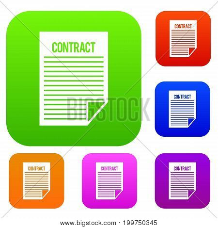Contract set icon in different colors isolated vector illustration. Premium collection