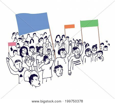 People protesting with banners illustration vector graphic