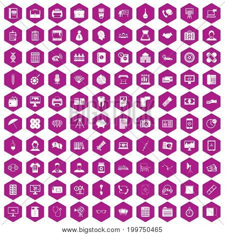 100 department icons set in violet hexagon isolated vector illustration