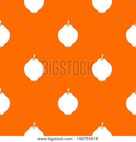 Quince fruit pattern repeat seamless in orange color for any design. Vector geometric illustration