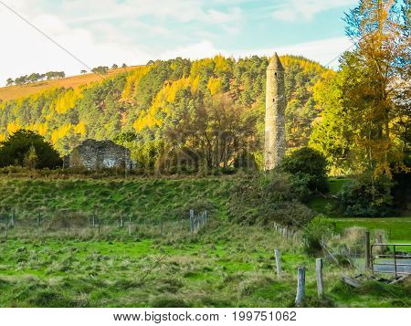 Monastic site in the Glendalough Valley, Wicklow Mountains National Park, Ireland