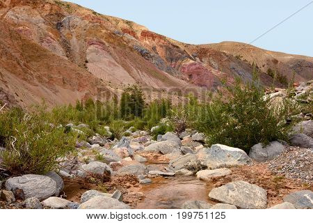 Mountains and the river in the mountains of Altai in Russia. Mountain Altai