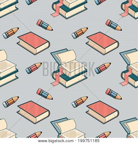 Vector Seamless pattern with book and pencil on blue background.