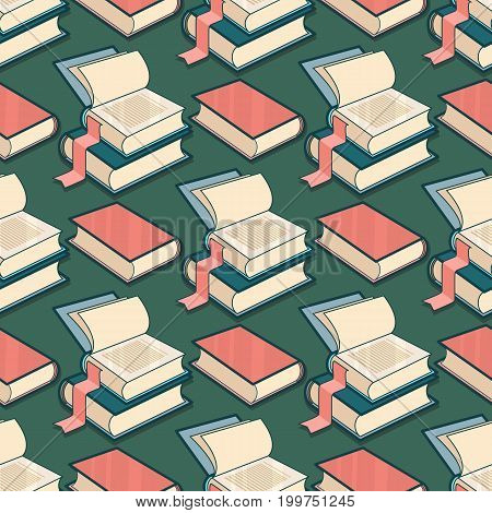 Vector Seamless pattern with book on blue background.