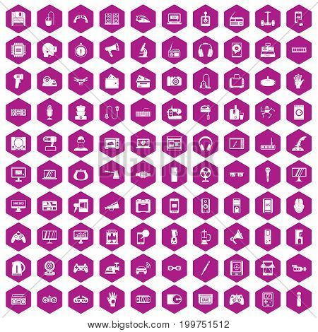 100 device icons set in violet hexagon isolated vector illustration