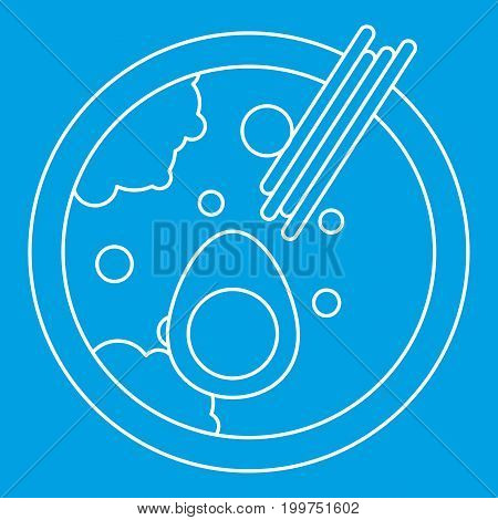 Miso soup icon blue outline style isolated vector illustration. Thin line sign