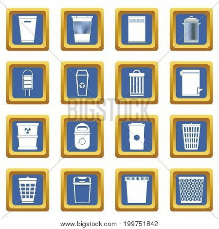 Trash can icons set in blue color isolated vector illustration for web and any design
