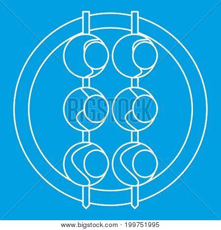 Asian shashlik icon blue outline style isolated vector illustration. Thin line sign