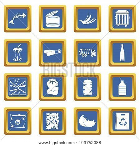 Waste and garbage for recycling icons set in blue color isolated vector illustration for web and any design