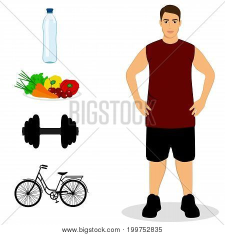 Thin. Proper nutrition. Healthy Lifestyle. Sportsman Isolated objects Vector illustration
