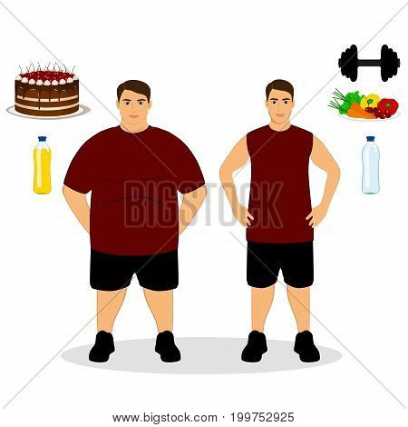 Thin and fat. Proper nutrition. From fat to thin. Before and after. Healthy Lifestyle. The guy becomes thin. Isolated objects. Vector illustration.