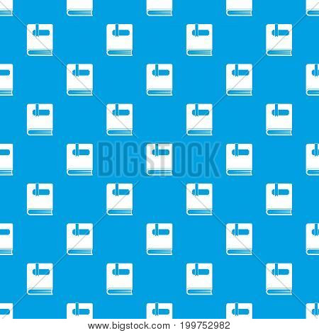 Thick book with bookmark pattern repeat seamless in blue color for any design. Vector geometric illustration