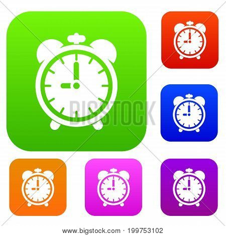 Alarm clock set icon in different colors isolated vector illustration. Premium collection
