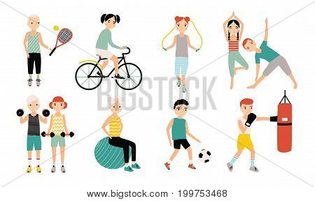 Kids sports activity collection. Exercising children set. Weightlifting, boxing, jumping rope, tennis, football, yoga, cycling training Colorful vector illustration
