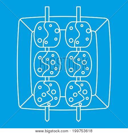 Meat shashlik icon blue outline style isolated vector illustration. Thin line sign